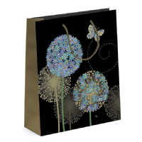Blue Alliums Gift Bags, Gold Foil Art 17 x 22 x 12cm MEDIUM Pack of 3